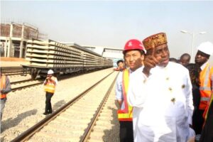 Amaechi inspecting one of the rail projects