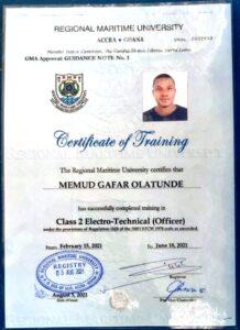 Gafar certificate
